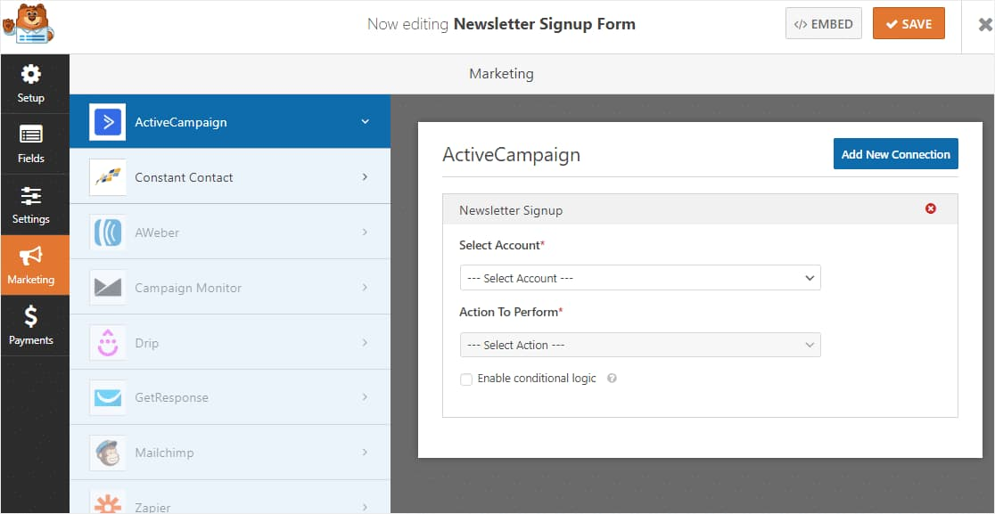 activecampaign form settings in wordpress