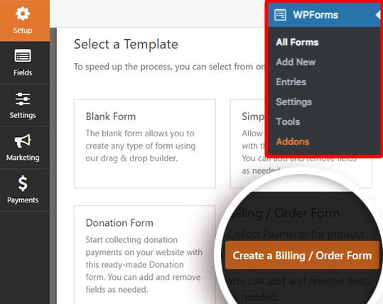 create new billing order form using wpforms template