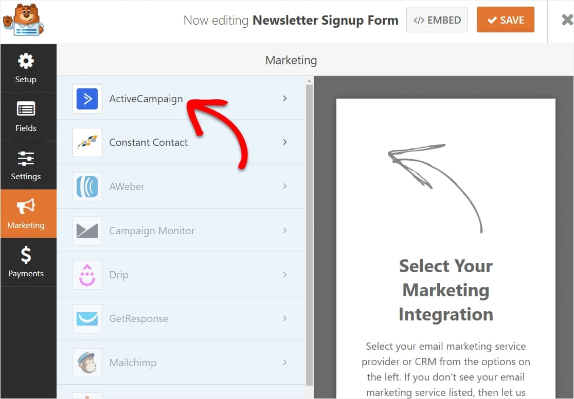 enabling activecampaign in wordpress integration to wpforms