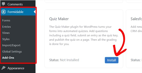 install formidable forms quiz maker addon
