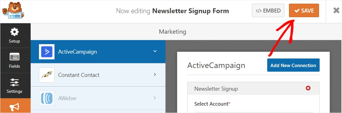 save activecampaign form settings