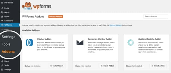wpforms addons admin page