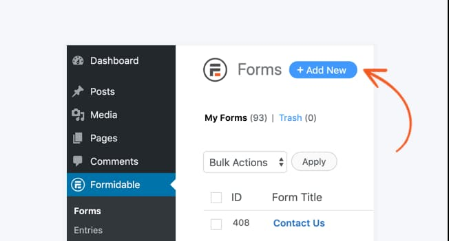 create a new form using formidable forms add new button