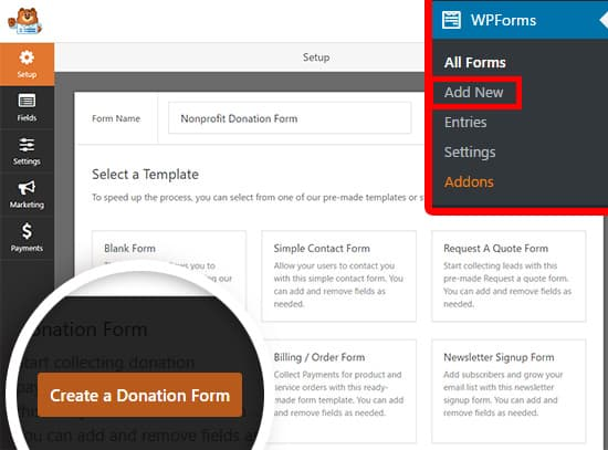 create new donation form on wordpress using wpforms