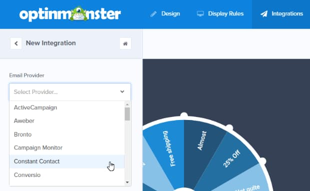 optinmonster email marketing provider integration