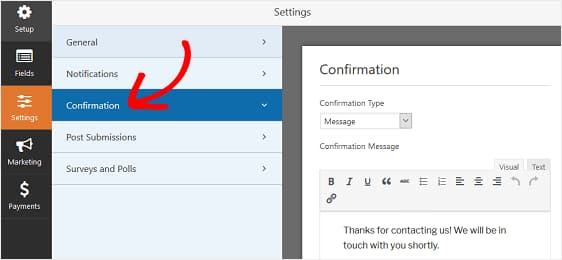 wpforms donation confirmation settings