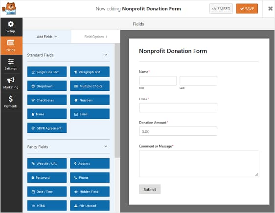 wpforms donation form