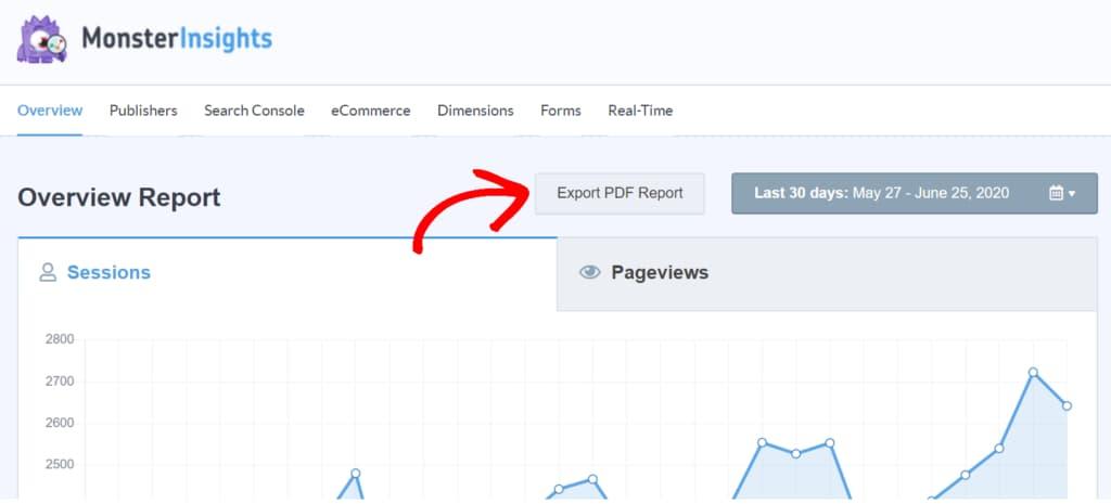 monsterinsights - export ga pdf report