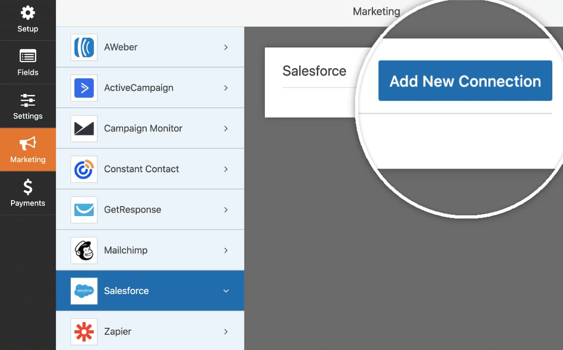 add new salesforce connection to wpforms