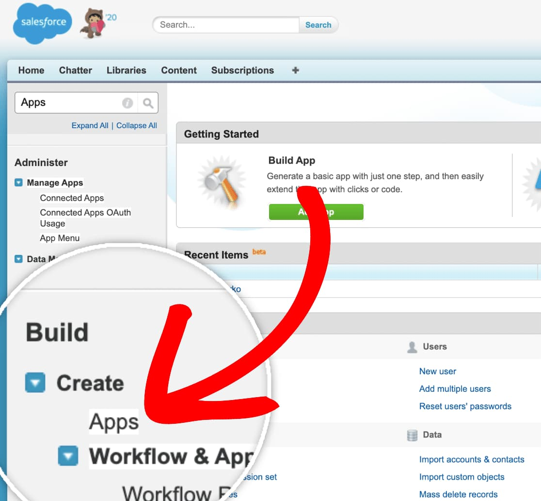 create new app in salesforce