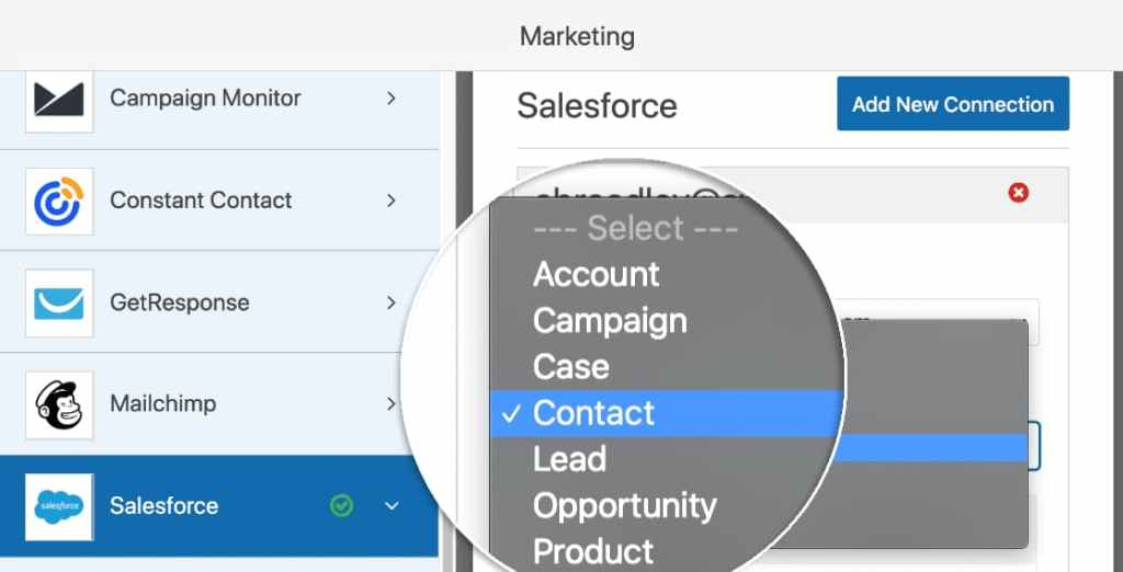 create salesforce object using wpforms entries