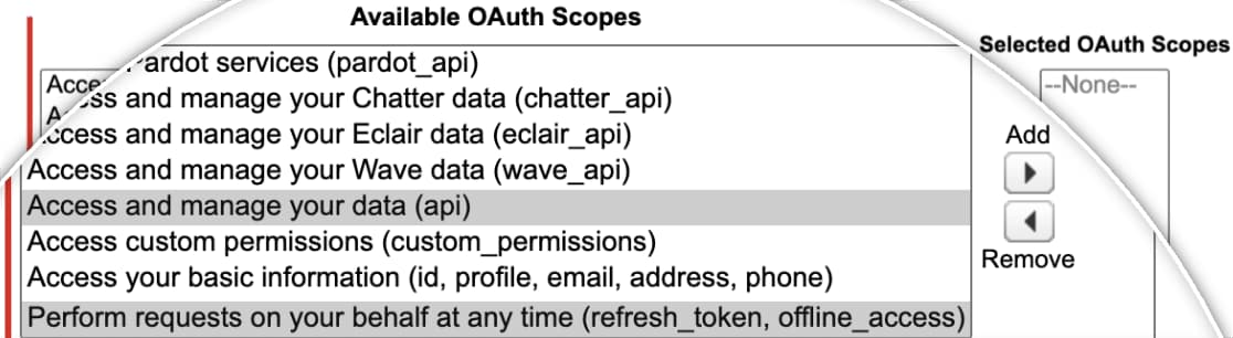 select oauth scopes for salesforce app