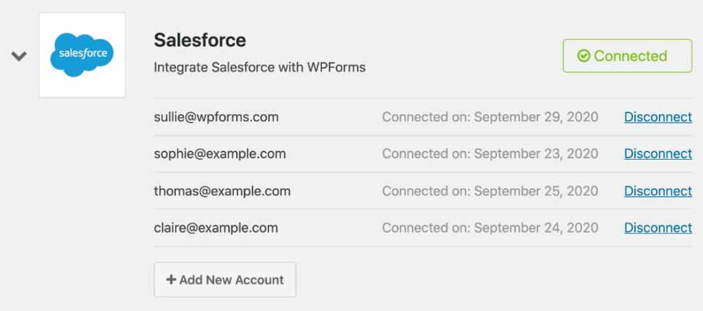wpforms salesforce addon - add multiple salesforce account to one website