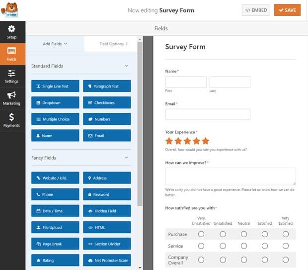 survey form template wpforms