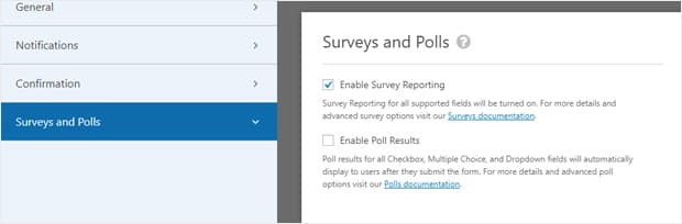wpforms surveys and polls settings