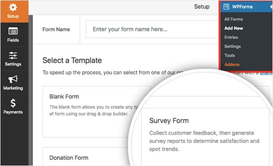wpforms survey forms template
