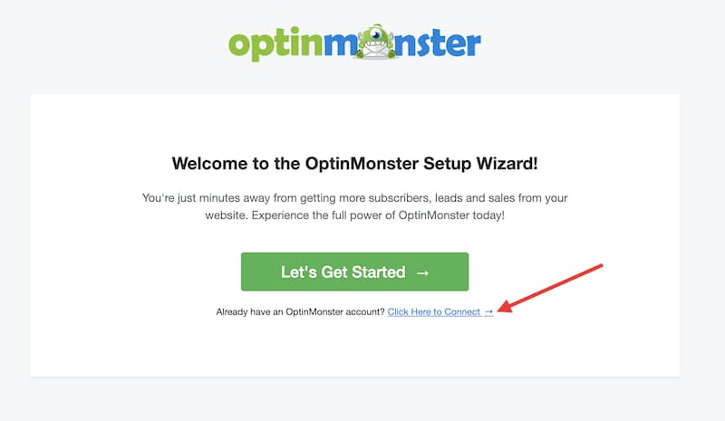 connect existing optinmonster account to wordpress