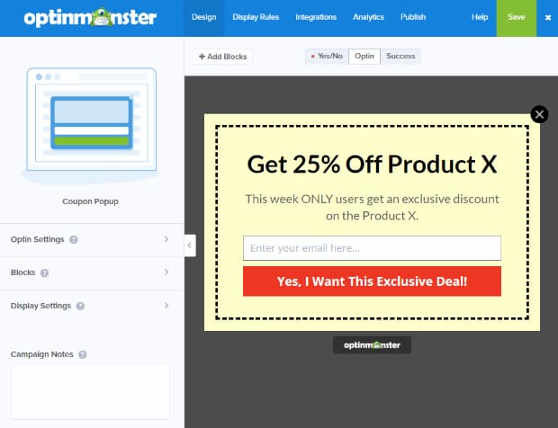 customize optinmonster coupon popup