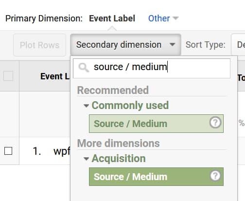 source / medium secondary dimension in ga