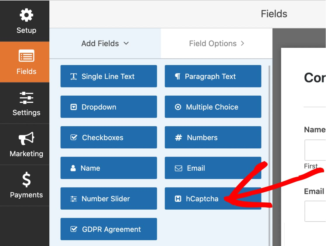select hcaptcha field in wpforms