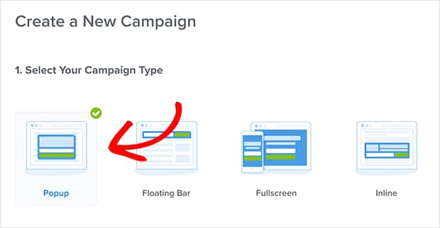 choose optinmonster campaign type