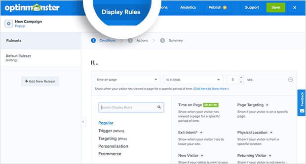 optinmonster exit popup display rules