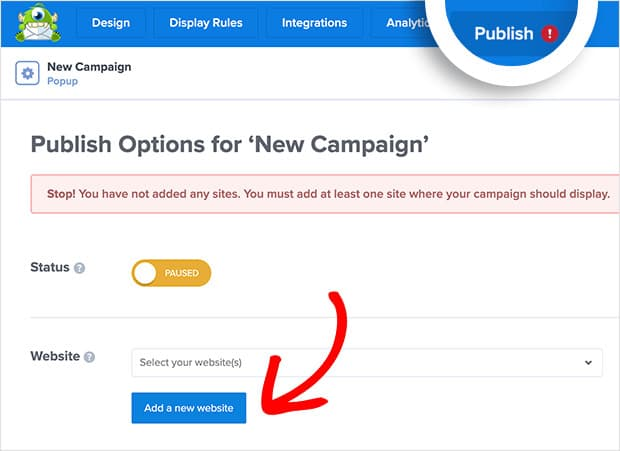 publish optinmonster exit intent popup campaign