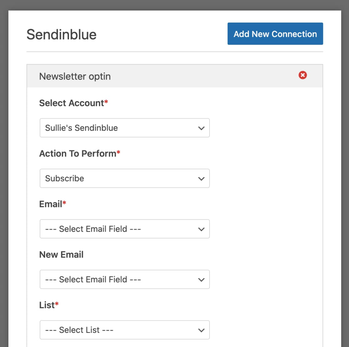 configure sendinblue subscribe settings using wpforms
