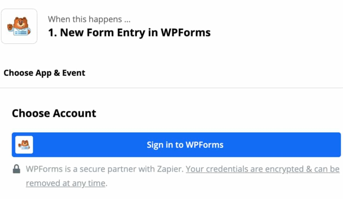 connect wpforms account with zapier