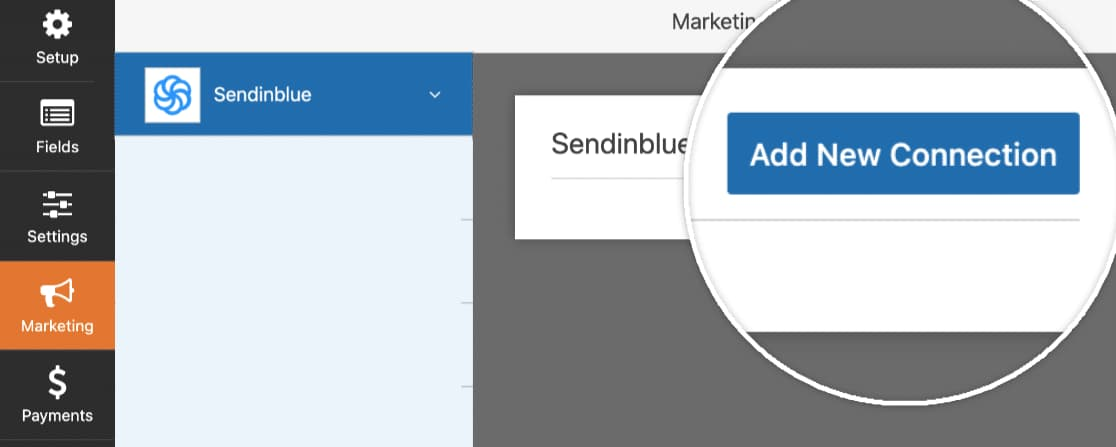 wpforms - add new sendinblue connection to form