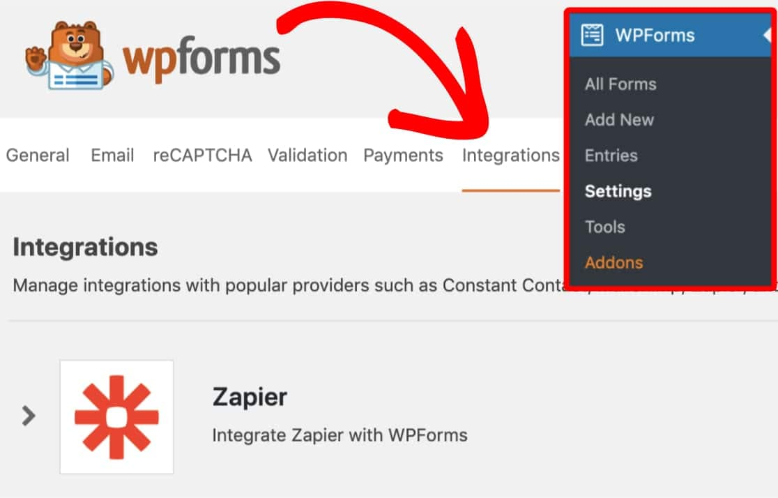 wpforms integration settings