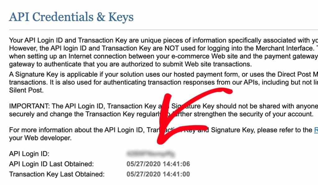authorize.net api credentials and keys page