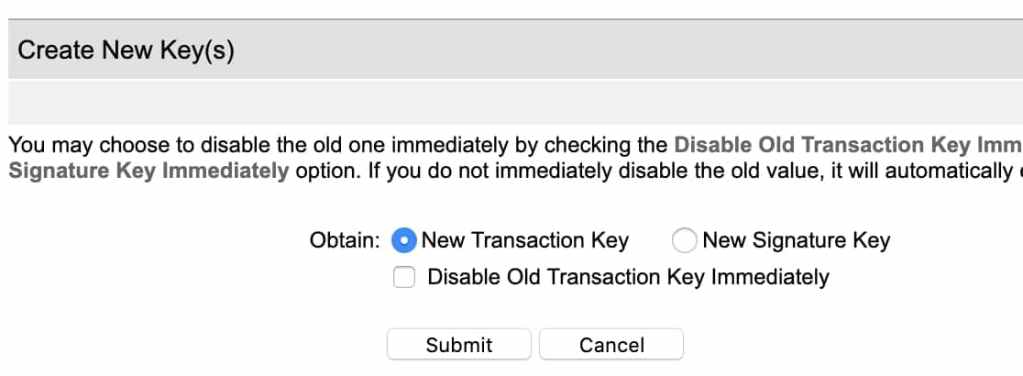create new transaction key from authorize.net account