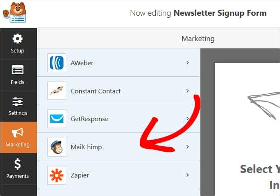 add mailchimp to wpforms