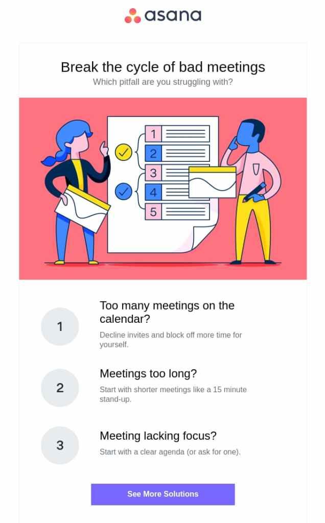 asana email marketing example