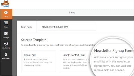 wpforms newsletter signup form template